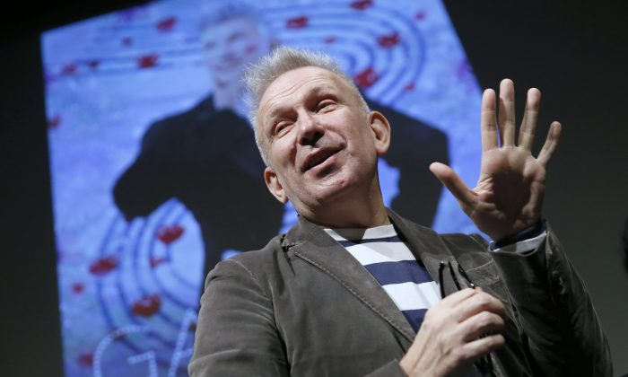 The fashion designer Jean Paul Gaultier speaks during a press conference prior to the opening of the exhibition devoted to him on March 30, 2015 in Paris. (Patrick Kovarik/AFP/Getty Images