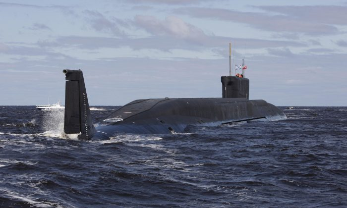 In this file photo, Russian nuclear submarine, the Yuri Dolgoruky, drives in the water area of the Sevmash factory in the northern city of Arkhangelsk on July 2, 2009. (Alexander Zemlianichenko/AFP/Getty Images)