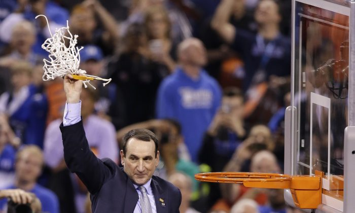 Duke head coach Mike Krzyzewski has now won five titles in his 40 years of coaching. (AP Photo/Darron Cummings)