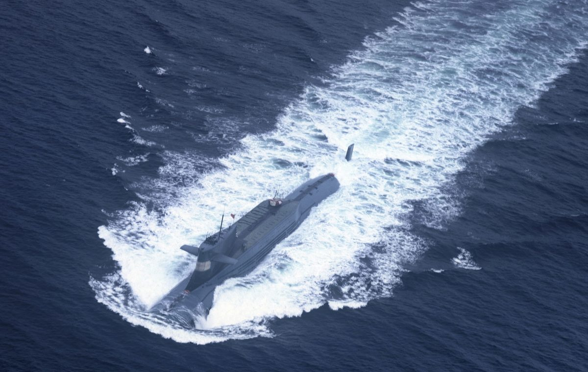 An undated photo shows a nuclear-powered submarine of the People's Liberation Army Navy's North Sea Fleet preparing to dive into the sea. The Chinese regime has begun deploying submarines armed with intercontinental ballistic missiles. (AFP/Getty Images)