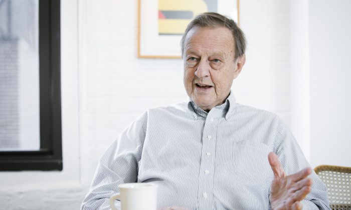 Ivan Chermayeff, founding partner of the Chermayeff & Geismar & Haviv brand design firm, talks about his life and work at the firm's office space in Manhattan on April 2, 2015. (Samira Bouaou/EpochTimes)