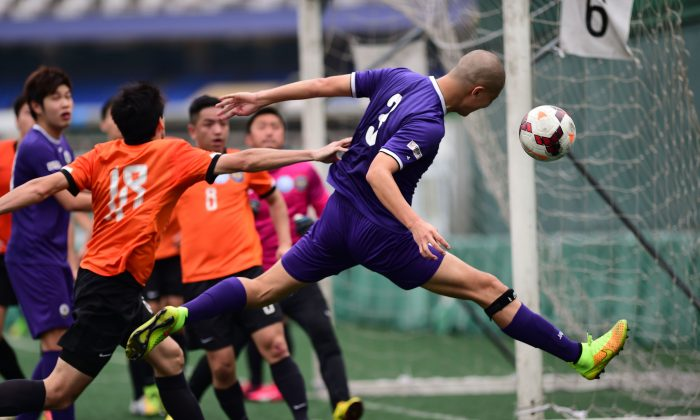 Citizen score against Kwun Tong in a HKFA Division 1 game at Happy Valley 6 earlier in the 2015 season. (Bill Cox/Epoch Times)
