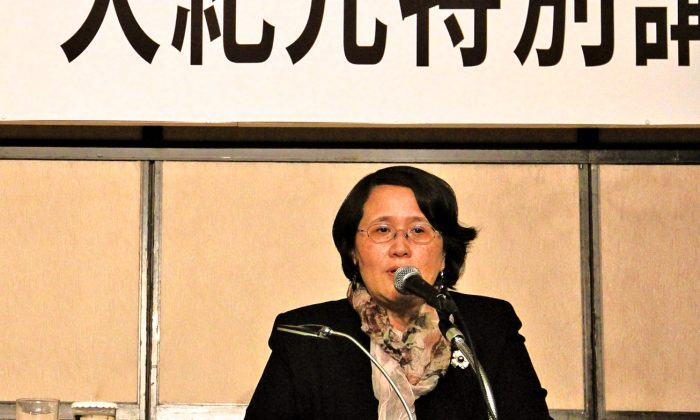 Epoch Times Hong Kong branch president Guo Jun gives a speech in Tokyo Japan in February. (Epoch Times)