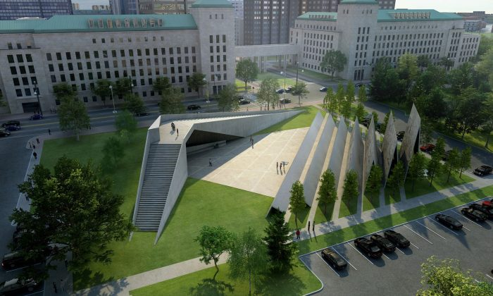 An artist's rendering of the National Memorial to Victims of Communism slated to be built this year. Despite the controversy over the memorial's location, Minister responsible for the National Capital Commission Pierre Poilievre says it will be built in the chosen location near the Supreme Court of Canada. (ABSTRAKT Studio Architecture)