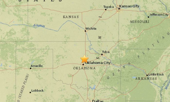 An apparent earthquake struck around Oklahoma City on Tuesday afternoon. (USGS)