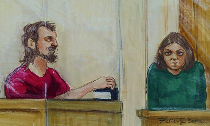 An artist's sketch shows John Nuttall resting his hand on a Qur'an and his co-accused Amanda Korody in provincial court in Surrey on July 9, 2013. Nutall's lawyer suggested in court on April 8, 2015, that the key witness in the case—an undercover police officer—encouraged Nutall to build pressure-cooker bombs. (The Canadian Press/Felicity Don)