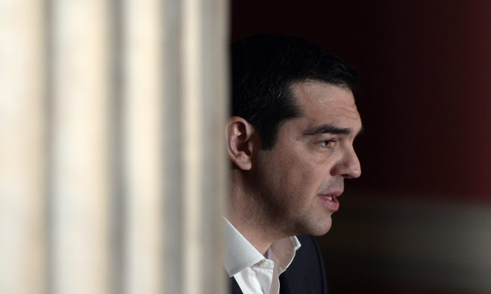 "Greek Prime Minister Alexis Tsipras delivers a speech at Athens University entitled ""The Greek Revolution as European Fact"" on the occasion of Greece's Independence Day on March 25, 2015. (Louisa  Gouliamaki/AFP/Getty Images)"