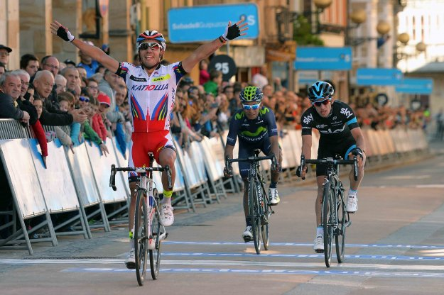 """Joaquim """"Purito"""" Rodriguez of Team Katusha celebrates winning Stage 3 of the Vuelta al Pais Vasco (Tour of the Basque Country) on April 8, 2015—his first win of the season. He repeated the feat with another summit victory in Stage 4, April 9, 20015, holding on to second in the General Classification. (www.katushateam.com)"""