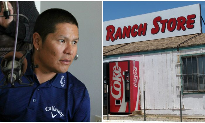 Professional golfer Notah Begay III talks to students in Albuquerque, N.M., about his mission to combat diabetes among Native American youth in a 2011 file photo on the right; on the left, a store on Navajo Nation in a file photo. (AP Photo/Susan Montoya Bryan; AP Photo/Barry Massey)