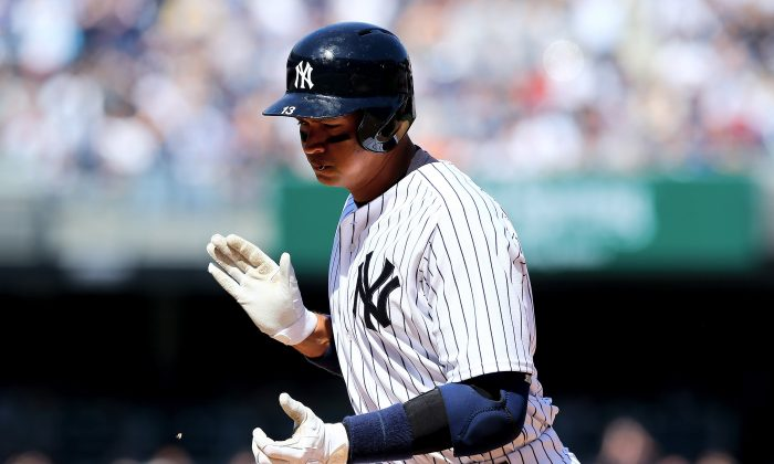 Alex Rodriguez of the New York Yankees leads the team in batting average (.300) and RBIs (6) through the first week of the season. (Elsa/Getty Images)