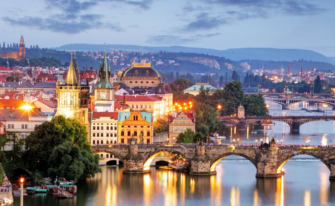 Prague cityscape at night via Shutterstock*