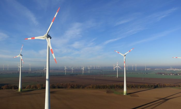Wind turbines spin at a wind farm on November 17, 2014 near Brieselang, Germany. Germany is extracating itself from nuclear energy and this year raised its goals for energy production from renewable sources to a share of 40-45% of domestic energy production by 2020 and 55-60% by 2035. (Sean Gallup/Getty Images)