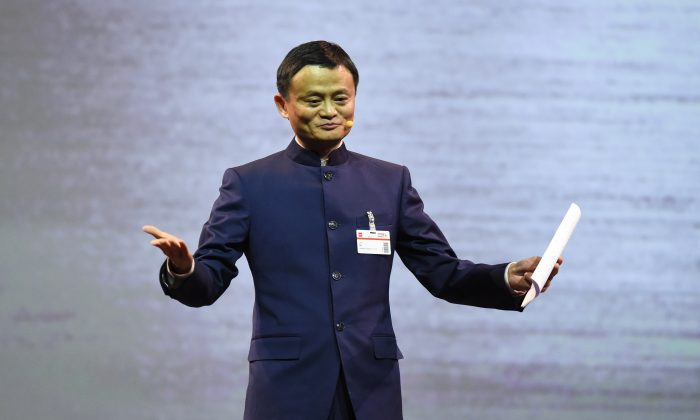 The founder and executive chairman of Alibaba Group, Jack Ma, speaks at a technology fair in Hanover, central Germany, on March 15, 2015. (Tobias Schwarz/AFP/Getty Images)