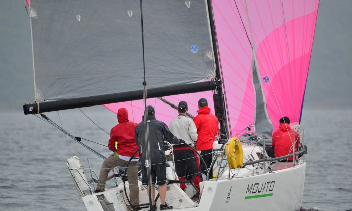 'Mojito' with 3-wins and a second place heads the IRC division of the Hebe Haven Jeanneau Spring Saturday Series after Race day-3 on Saturday April 11, 2015. (Bill Cox/Epoch Times)