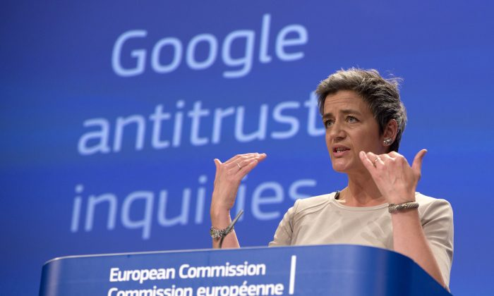 European Union's competition chief Margrethe Vestager speaks during a media conference regarding Google at EU headquarters in Brussels on Wednesday, April 15, 2015. The European Union's executive hit Google with an official antitrust complaint on Wednesday that alleges the company abuses its dominance in Internet searches and also opened a probe into its Android mobile system. (AP/Virginia Mayo)