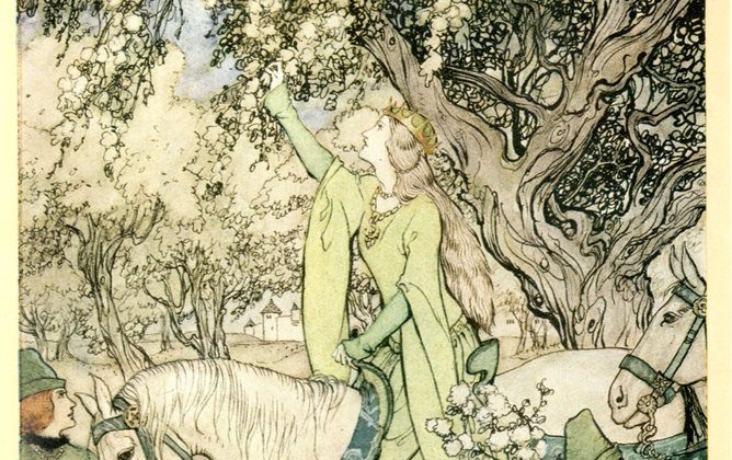 Guenevere in May, Malory's Le Morte D'Arthur, abridged ed. Alfred W. Pollard, illustrations by Arthur Rackham, 1917. (Bangor University Library Rare Book Collection, Author provided)