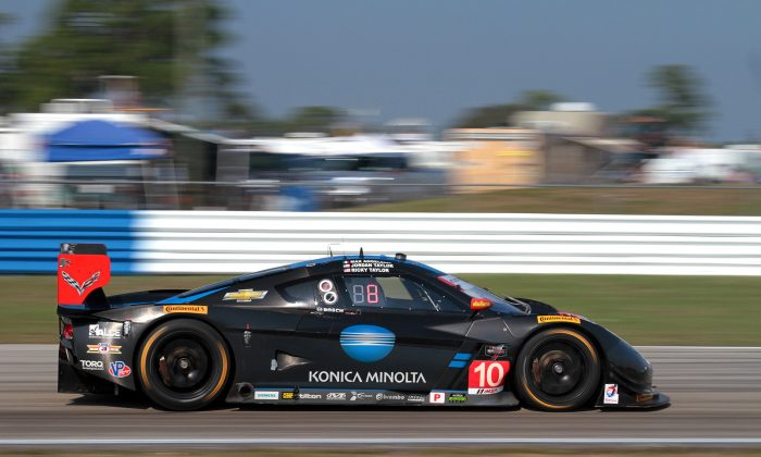 The #10 Wayne Taylor Racing Dallara-Corvette, here in action during the 2015 Tudor 12 Hours of Sebring, will start from the pole at Long Beach thanks to a series of record-breaking laps by Ricky Taylor. (Chris Jasurek/Epoch Times)