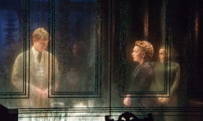 """Billy Howle, Lesley-Manville, and Charlene-McKenna in an eerie scene from Henrik Ibsen's heartbreaking story of """"Ghosts."""" (Stephanie-Berger)"""