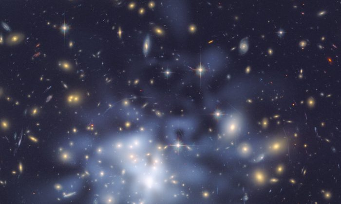Dark matter is invisible and can be detected only though the effect its gravity has on things we can see such as passing rays of light – an effect known as gravitational lensing.  (NASA, CC BY 2.0)