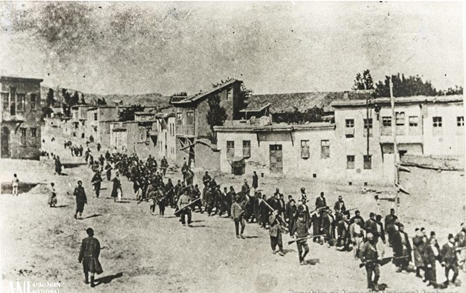 Armenians being marched out of Harput in 1915. (Republic of Armenia National Archives)