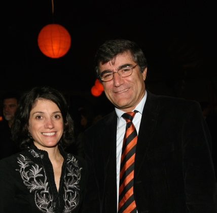 "Carla Garapedian with the late Hrant Dink, a Turkish-Armenian newspaper editor who was assassinated in Turkey two months after ""Screamers"" was released. He was interviewed in the film. (Courtesy of Carla Garapedian)"