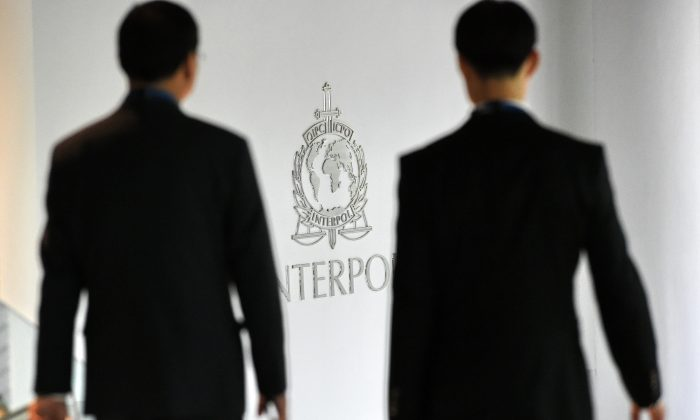 A logo at the newly completed Interpol Global Complex for Innovation building is seen during the inauguration opening ceremony in Singapore on April 13, 2015. (Roslan  Rahman/AFP/Getty Images)