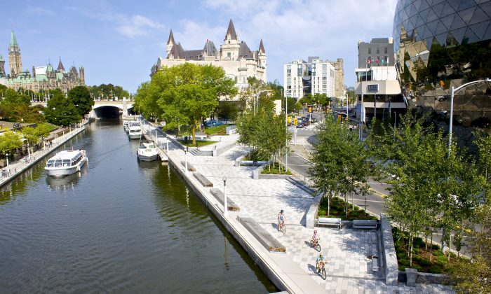 The Rideau Canal, a UNESCO World Heritage Site, was opened in 1832 as a precaution in case of war with the United States. It is the oldest continuously operated canal system in North America, and is used today primarily for pleasure boating. When the canal freezes in winter, part of it is used as a skating rink. (Ottawa Tourism)