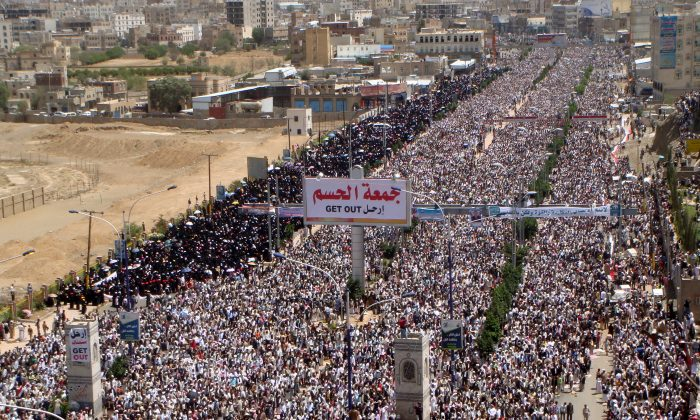 Tens of thousands of Yemeni anti-government protesters take part in a demonstration calling for the ouster of Yemeni President Ali Abdullah Saleh following Friday prayers in Sanaa on May 13, 2011. The Arab Spring has ushered in the increased radicalization of Arab youth, which challenges the governments in the region. (GAMAL NOMAN/AFP/Getty Images)