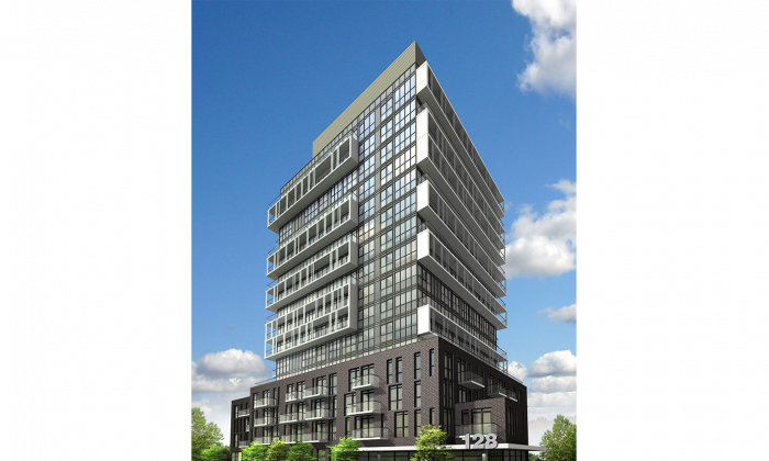 Rendering of Connect Condos at 128 Fairview Mall Dr. in Toronto, a 7.2 acre master-planned development that will include five buildings and 74 townhouses. (FRAM Building Group)