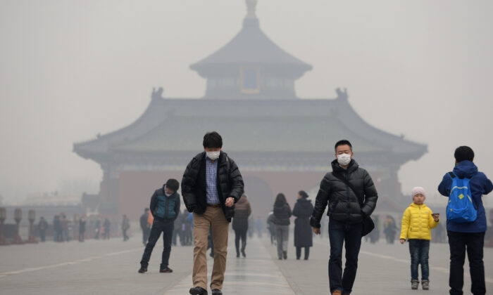 Temple of Heaven in haze-covered Beijing on Feb. 24, 2014. (STR/AFP/Getty Images)