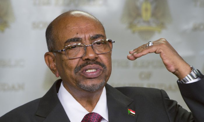 Sudanese President Omar al-Bashir speaks after meeting with South Sudan's President Salva Kiir, in the capital Juba, South Sudan. (AP Photo/Ali Ngethi)