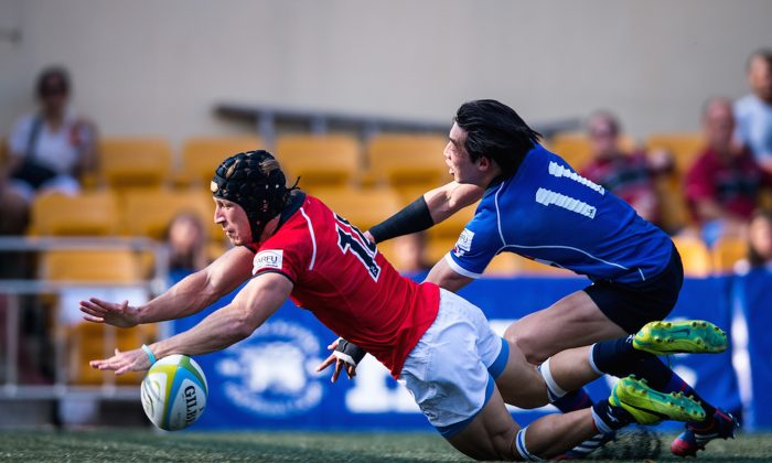 Winger Tom McQueen touches down for Hong Kong's only points of the first half in their ARFU International against Korea at the Hong Kong Football Ground on Saturday April 25. ( ARFU)