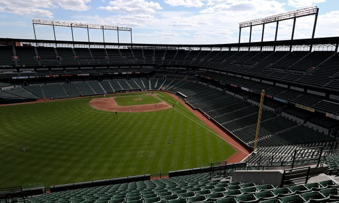 The Baltimore Orioles played the Chicago White Sox at an empty Oriole Park at Camden Yards on April 29 in Baltimore, Maryland. (Patrick Smith/Getty Images)