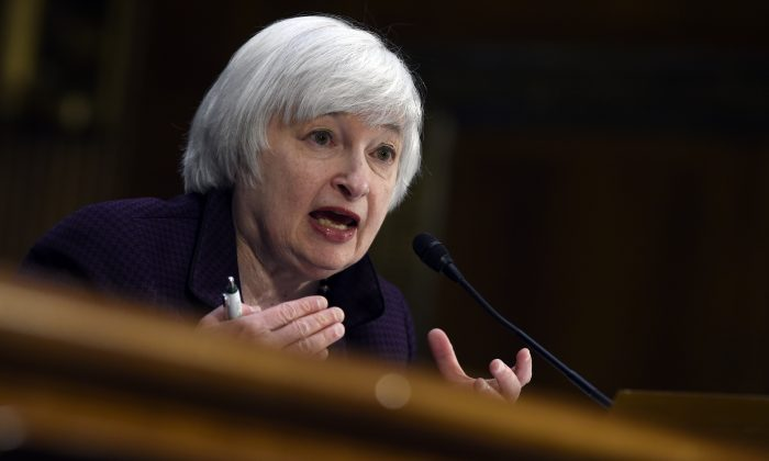 Fed chair Janet Yellen testifies on Capitol Hill in Washington on Feb. 24, 2015. The Fed issued a broad downgrade of the U.S. economy on April 29, 2015. (AP Photo/Susan Walsh, File)