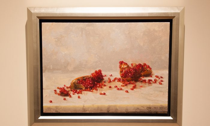 """Pomegranates,"" 2015, by Jacob Collins. Oil on canvas, 18 by 24 inches. (Petr Svab/Epoch Times)"