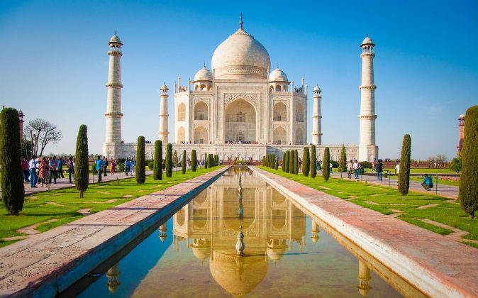 Taj Mahal on a bright and clear day via Shutterstock*