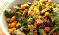 Recipe: Warm Cheesy Chickpea Pesto Salad