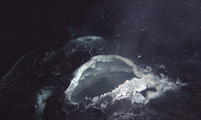 A photo fro 2012 showing a vent on Axial Seamount, an active volcano about 300 miles off the Oregon coast. (Bill Chadwick/Oregon State University)
