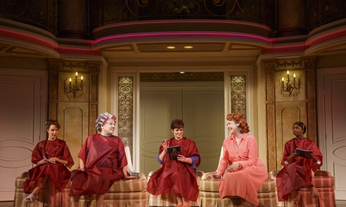 "Preparing for the wedding: the bride (Sierra Boggess), her mother (Tyne Daly), her older sister (Lisa Howard), her mother-in-law to be (Harriet Harris) and her maid of honor (Montego Glover) in ""It Shoulda Been You."" (Joan Marcus)"