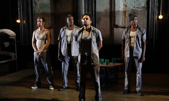 """(L–R) Armando Riesco, Keith David, F. Hill Harper, and Jonathan Peck in """"ToasT,"""" appear in a Public Lab production written by Lemon Andersen and directed by Elise Thoron.  (Carol Rosegg)"""
