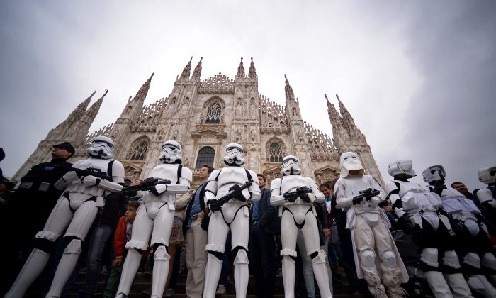"Cosplayers dressed as ""Star Wars"" stormtroopers stand in front of Milan's Duomo on May 3, 2015 as part of Star Wars Day. (Filippo Monteforte/AFP/Getty Images)"