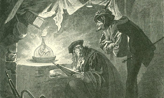 Illustration of a homunculus in a vial by Franz Xaver Simm, 1899. (Public domain)
