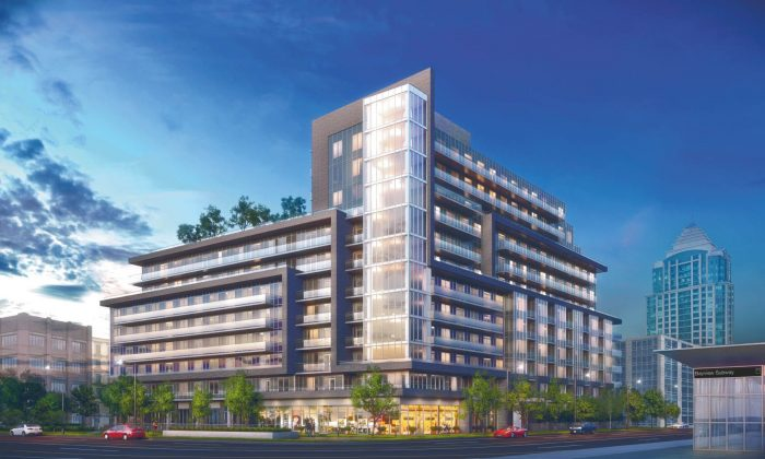 In2ition is selling Lotus Condos, an 11-storey building by Chestnut Hill Developments located at Bayview and Sheppard, across from the Bayview Village mall in North York, Toronto. (Courtesy In2ition)