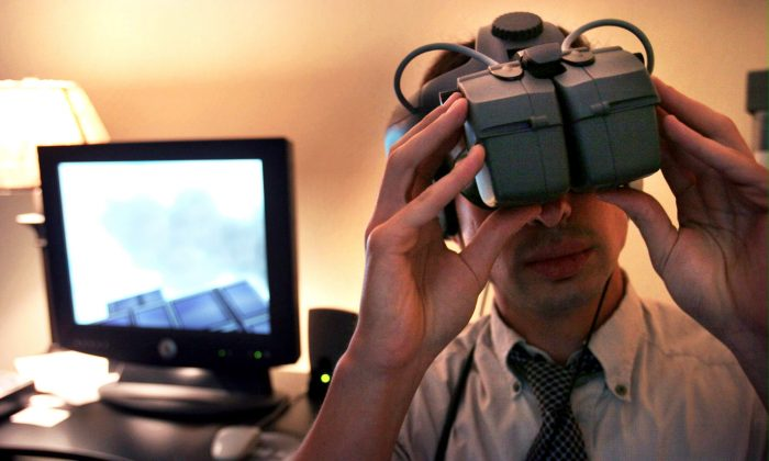 A monitor displays images viewed in a demonstration of virtual reality Tuesday, July 19, 2005 in New York.  (AP Photo/Bebeto Matthews)