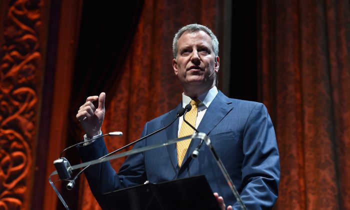 Mayor of New York City, Bill de Blasio speaks during TechCrunch Disrupt NY 2015 - Day 1 at The Manhattan Center on May 4, 2015 in New York City. (Noam Galai/Getty Images for TechCrunch)