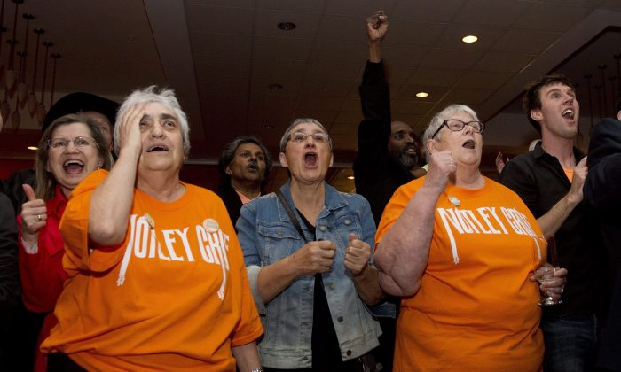 NDP supporters react with delight as they watch the election results at NDP leader Rachel Notley's headquarters in Edmonton on May 5, 2015. (The Canadian Press/Nathan Denette)