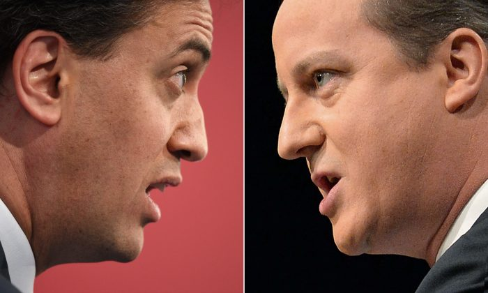 Opposition Labour Leader Ed Miliband (L) and British Prime Minister and leader of the Conservatives David Cameron speaking at campaign events. (Oli Scarff/AFP/Getty Images)