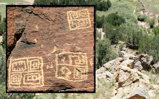 Petroglyphs found in Arizona that show ancient Chinese script. (Courtesy of John Ruskamp)