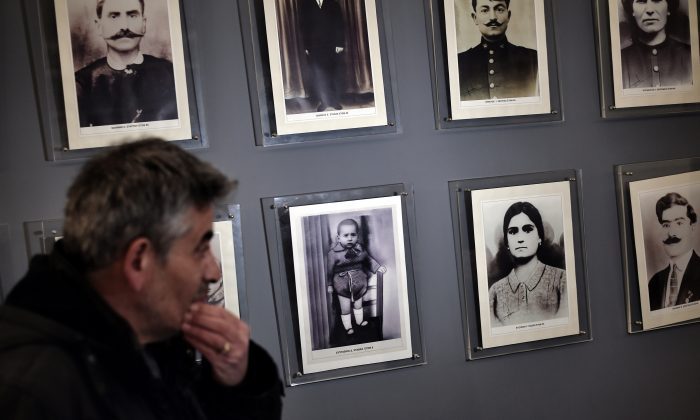 The museum of the victims of Nazism in the small town of Distomo, northwest of Athens, Greece, on March 27, 2015. Distomo has become the symbol of atrocities committed by Nazi troops as they pulled back to Germany in the wake of the Allied Normandy landings in the summer of 1944. A quarter of Distomo's population died—218 people including infants and pregnant women who were disemboweled. (Aris Messinis/AFP/Getty Images)