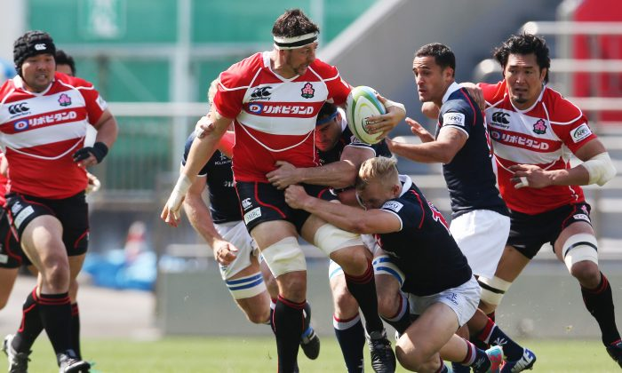 Japan proved too hard to handle in round 3 of the ARFU Asian Championship at the Prince Chichibu Memorial Rugby Ground, in Tokyo on Saturday May 2, 2015. (ARFU)